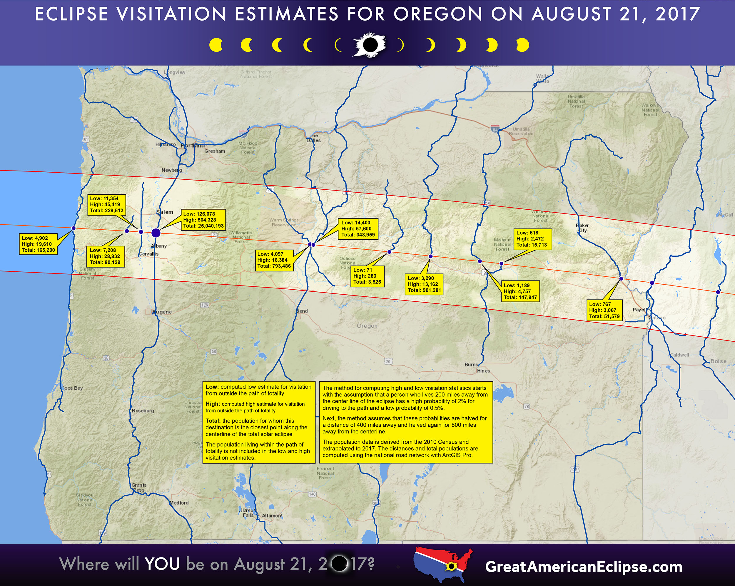 2017 Eclipse Oregon Map Oregon eclipse — Total solar eclipse of April 8, 2024