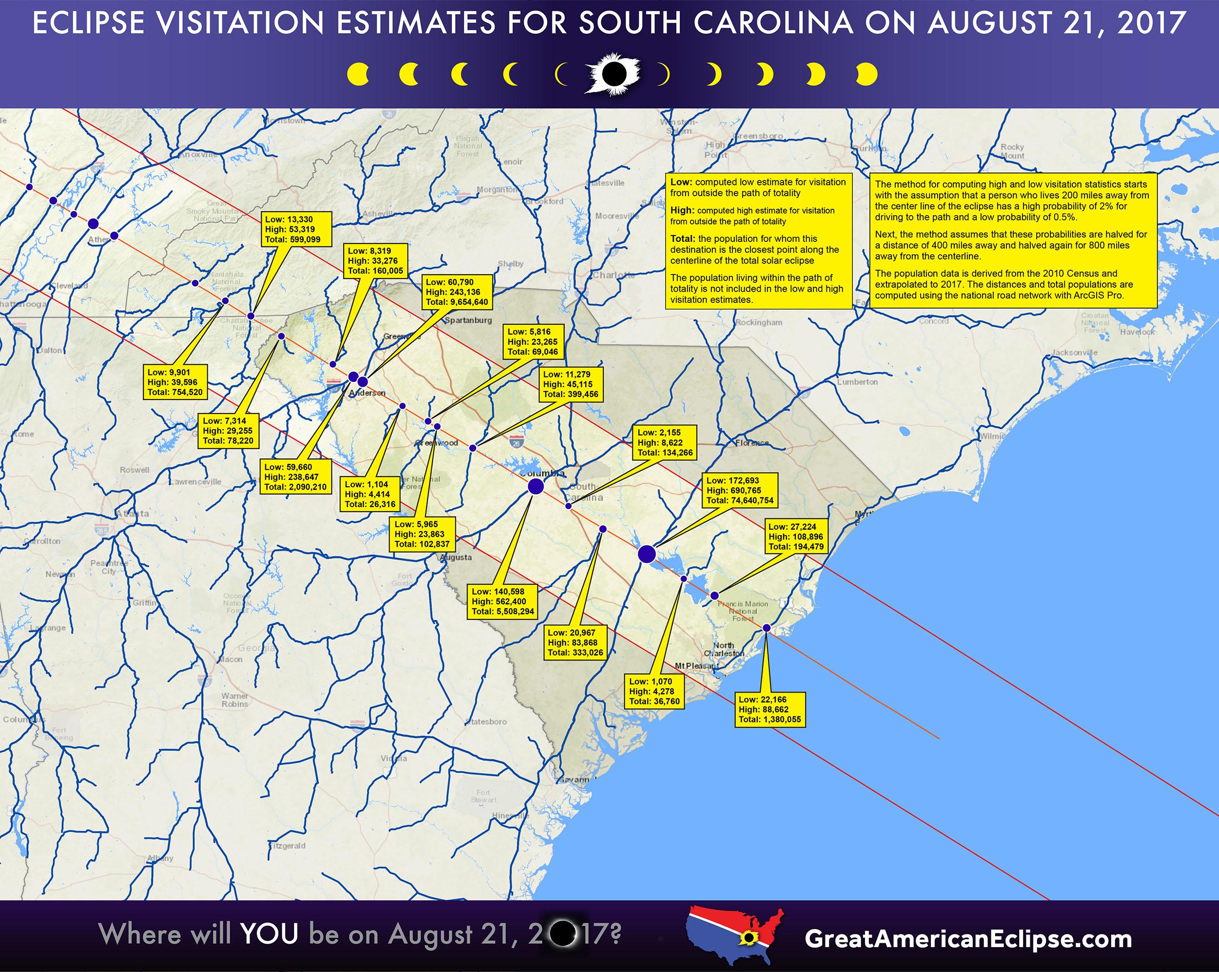 Solar Eclipse Map South Carolina South Carolina eclipse — Total solar eclipse of April 8, 2024