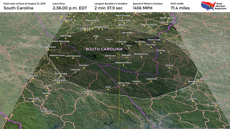 south carolina solar eclipse map South Carolina Eclipse Total Solar Eclipse Of April 8 2024