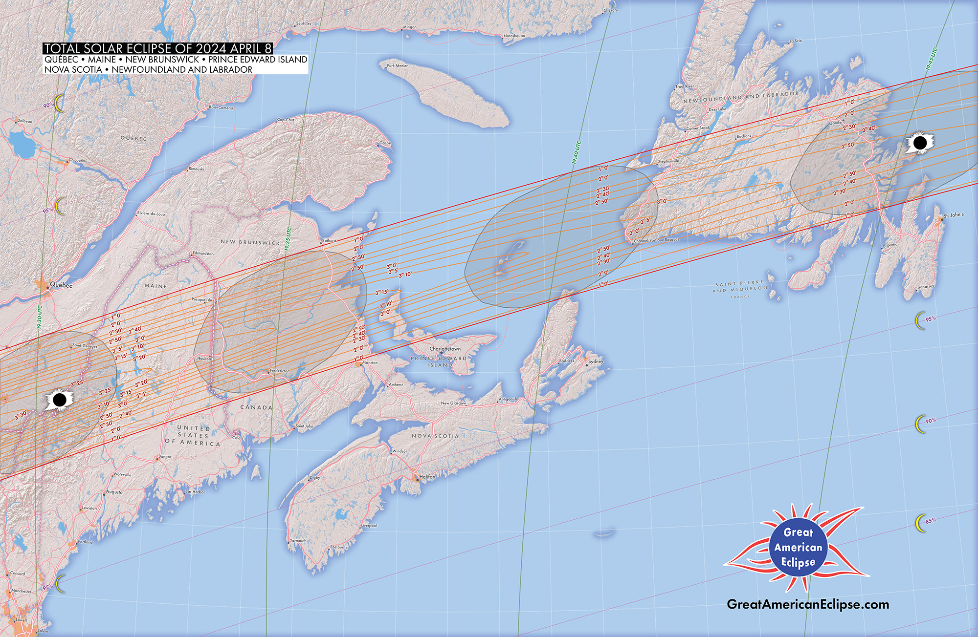 detailed path of the april 8, 2024 total solar eclipse over maine and canadian maritime provinces. from a publication in development. click to enlarge.