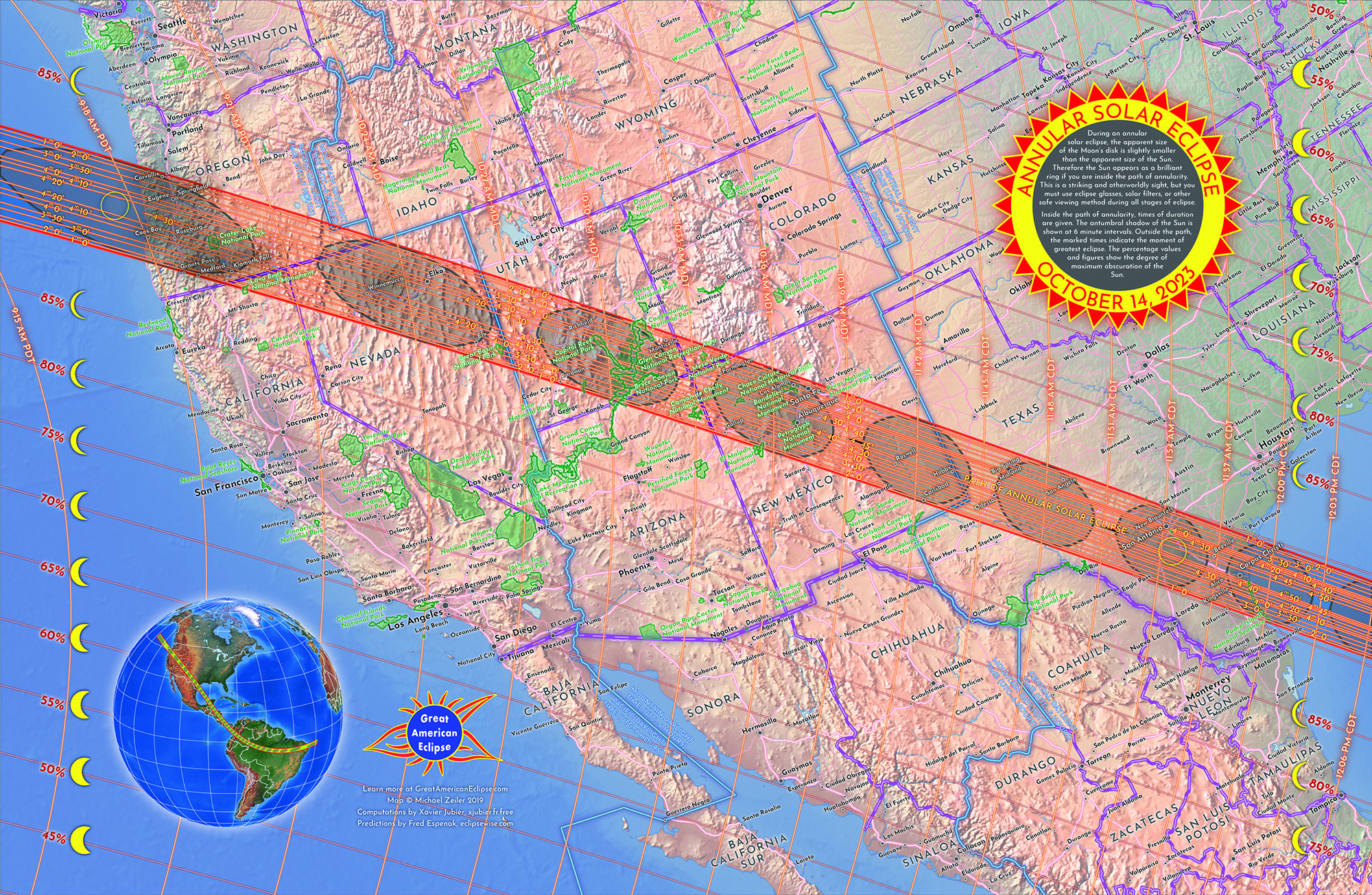 The path of annularity across the United States. This map available in two sizes at  https://www.greatamericaneclipse.com/maps-and-posters/2023map