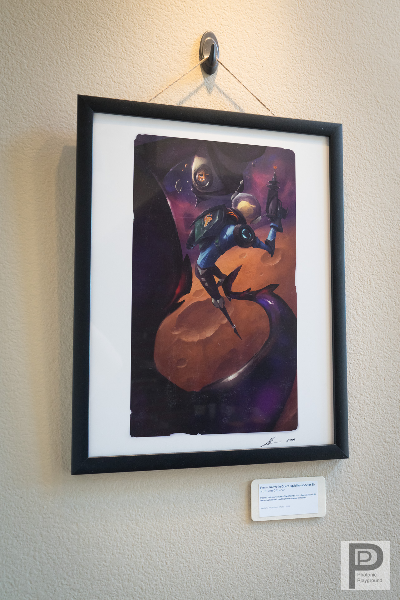 """  Finn + Jake vs the Space Squid from Sector Six"" framed art"