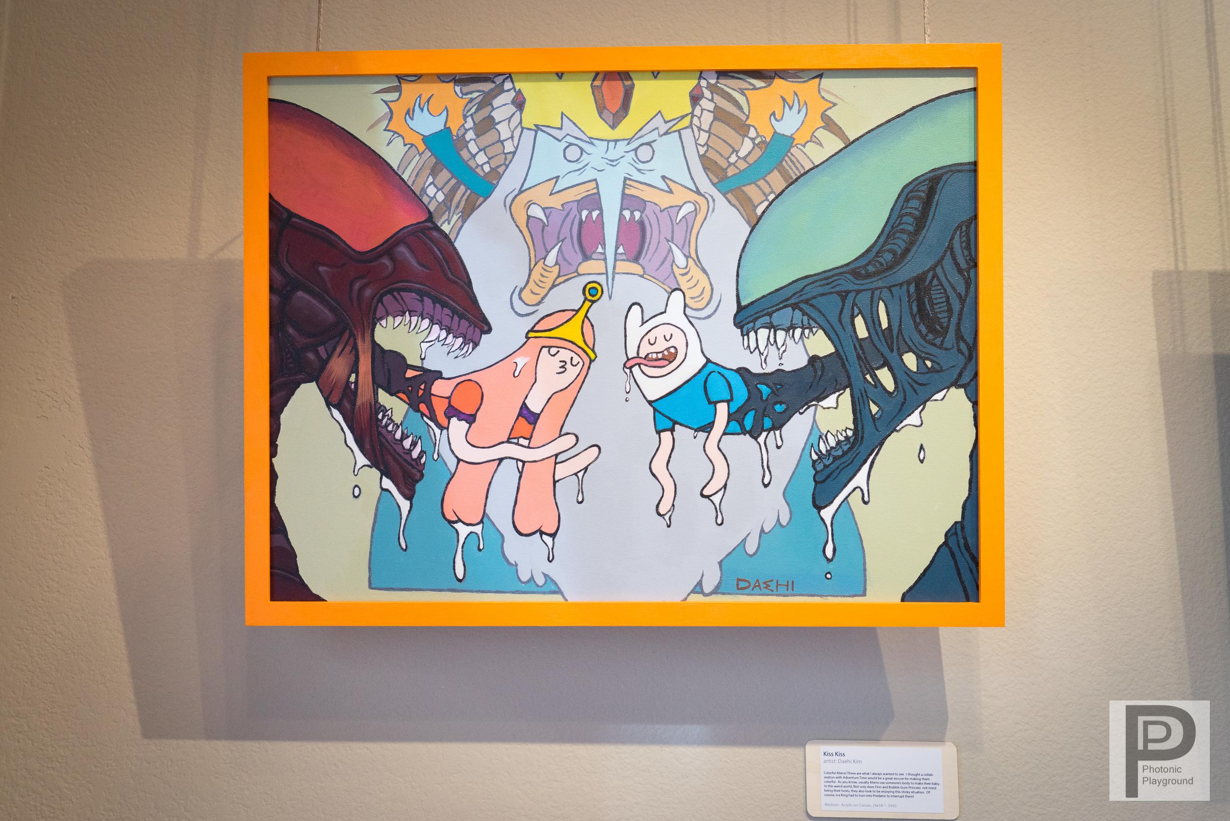 """Kiss Kiss""  framed canvas art"