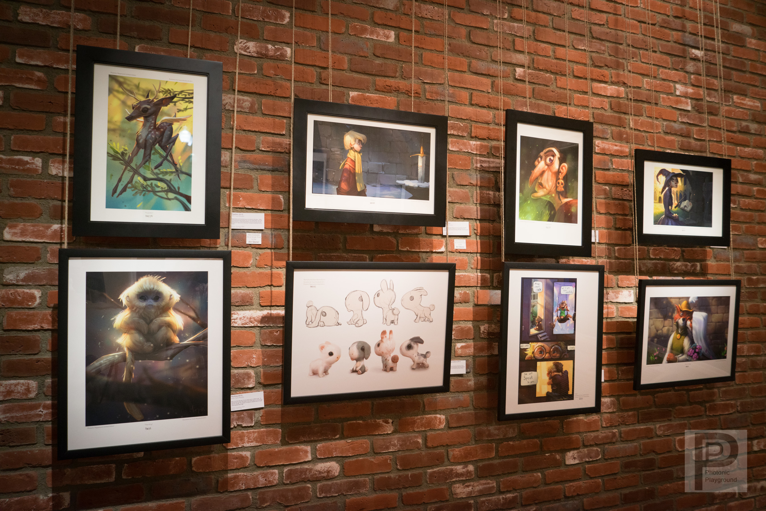 Gallery display of Tyson Murphy's art.