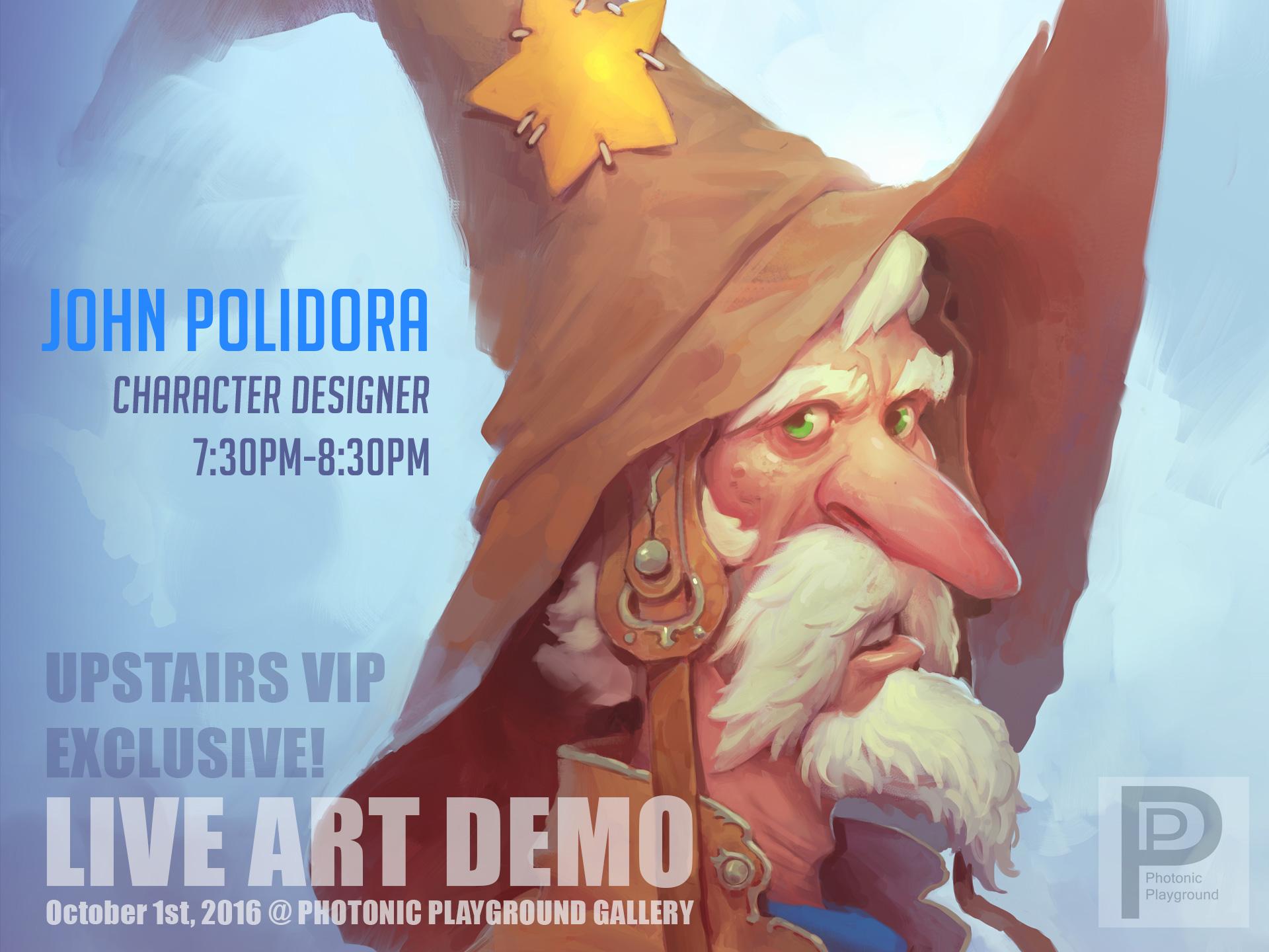 John Polidora's art demo poster for the October 2016 show.