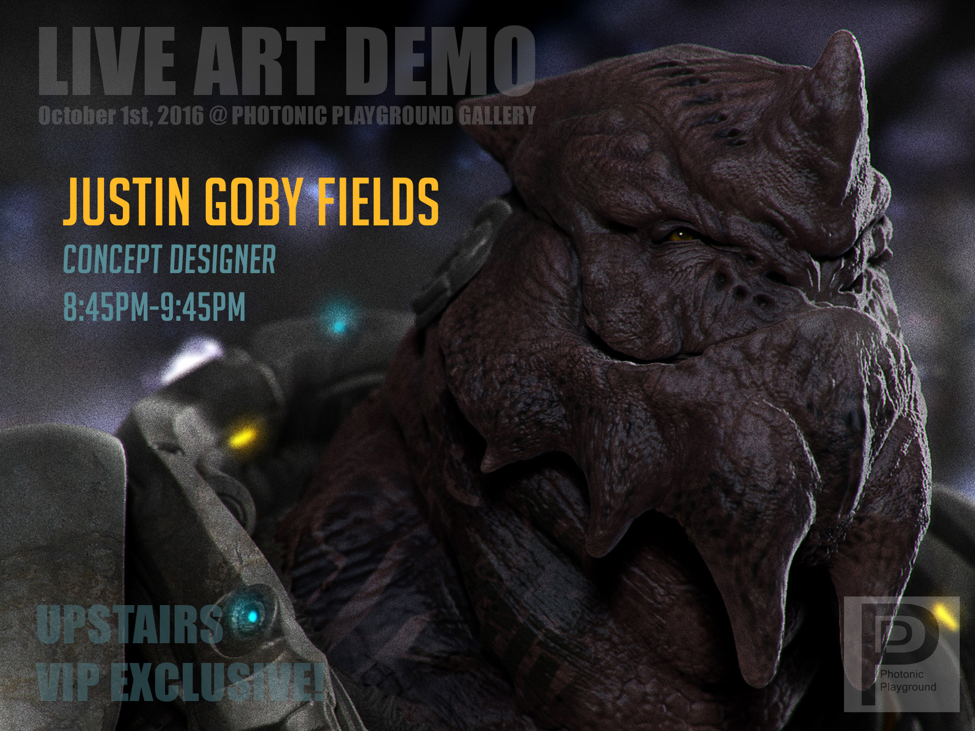 Justin Goby Field's art demo poster for the October 2016 show.