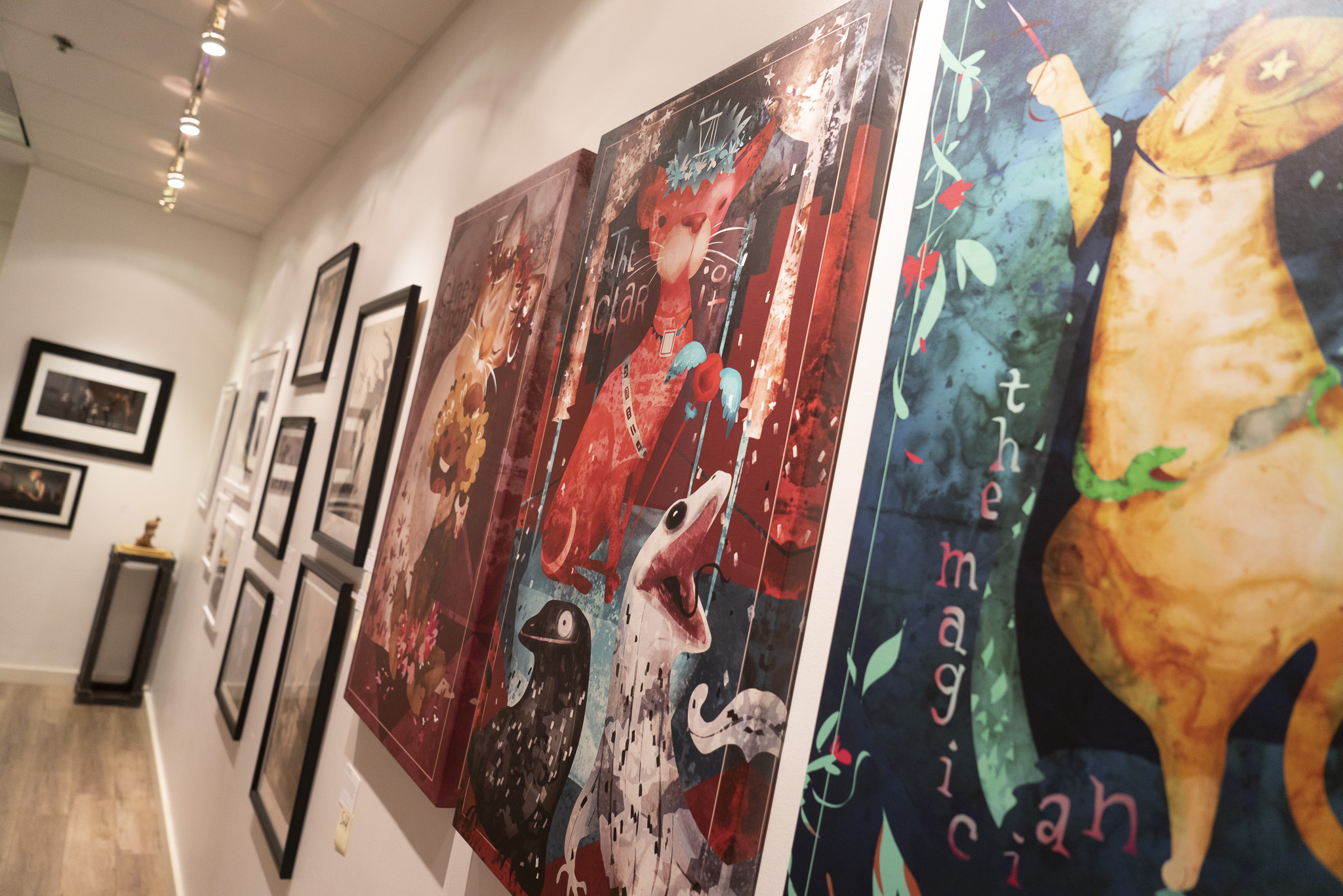 """Foreground art on canvas prints by  Nicole Yang  for the """"Women of Art""""exhibition, on display from May through July 2018."""