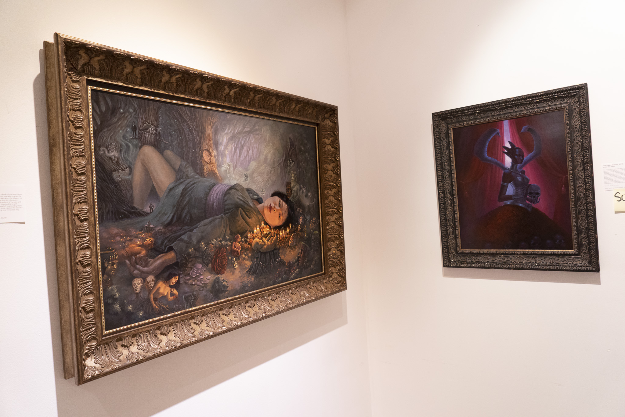 """Acrylic paintings on display by  Mia Araujo  for the """"Women of Art"""" exhibition."""