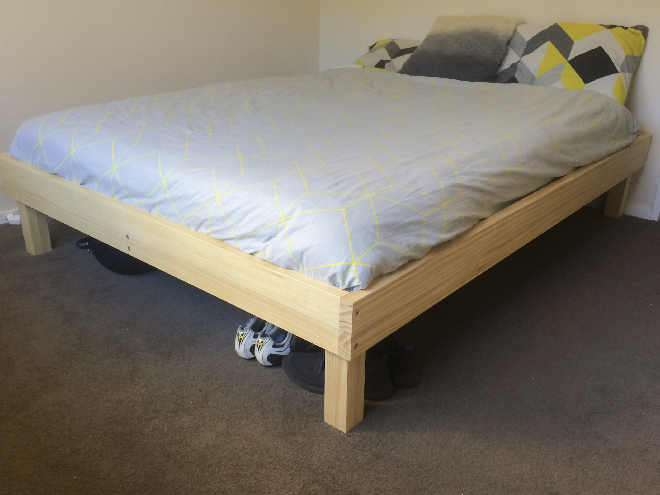 The bed all set up