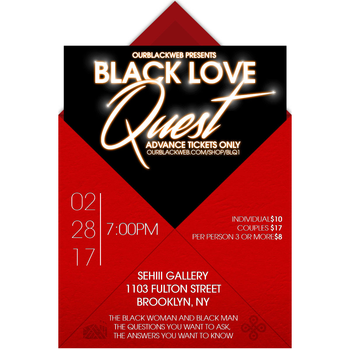"""An open forum discussion between the black woman and the black man. Questions you would like discussed on the day of the event can be submitted anonymously to our poll in the """"Product Description"""" area of https://www.ourblackweb.com/shop/blq1/  Good spirits, great questions, and black love is welcome!"""