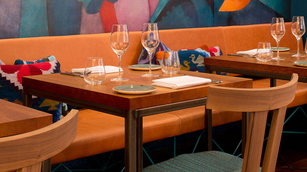 Lima Floral restaurant furniture   by HF Contracts.