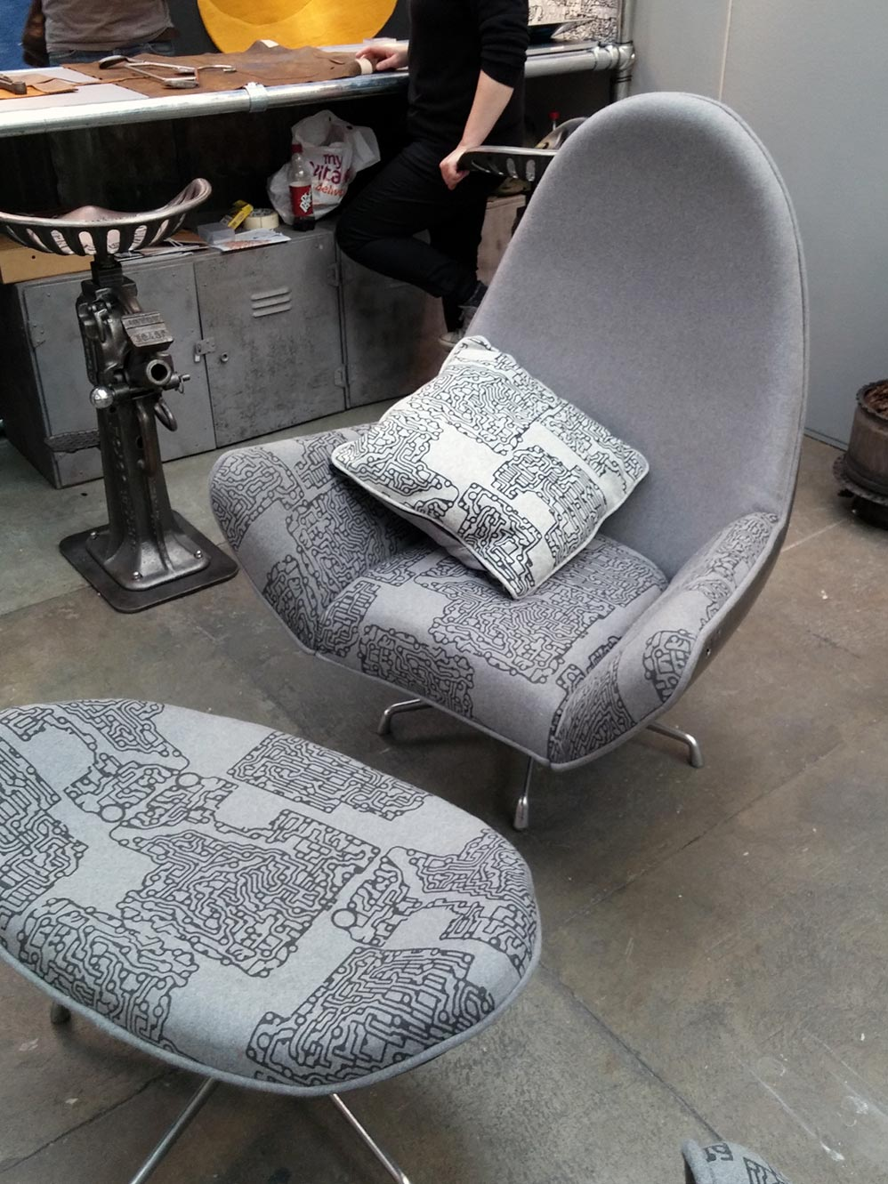 This particular chair by  The Rag And Bone Man  utilised an old VW bonet for the outer shell. Very Cool!