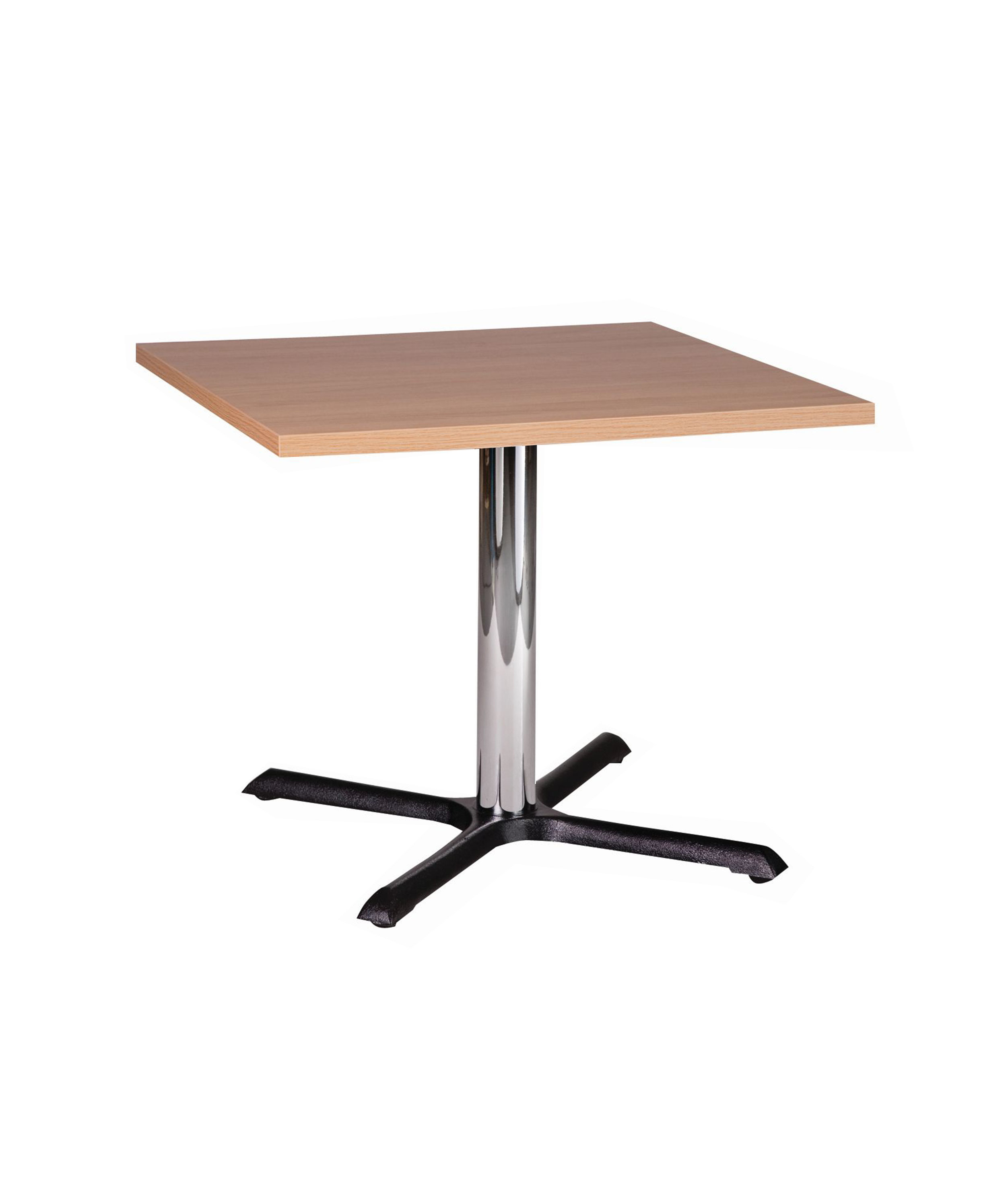 Orlando chrome dining height base with square oak top.jpg