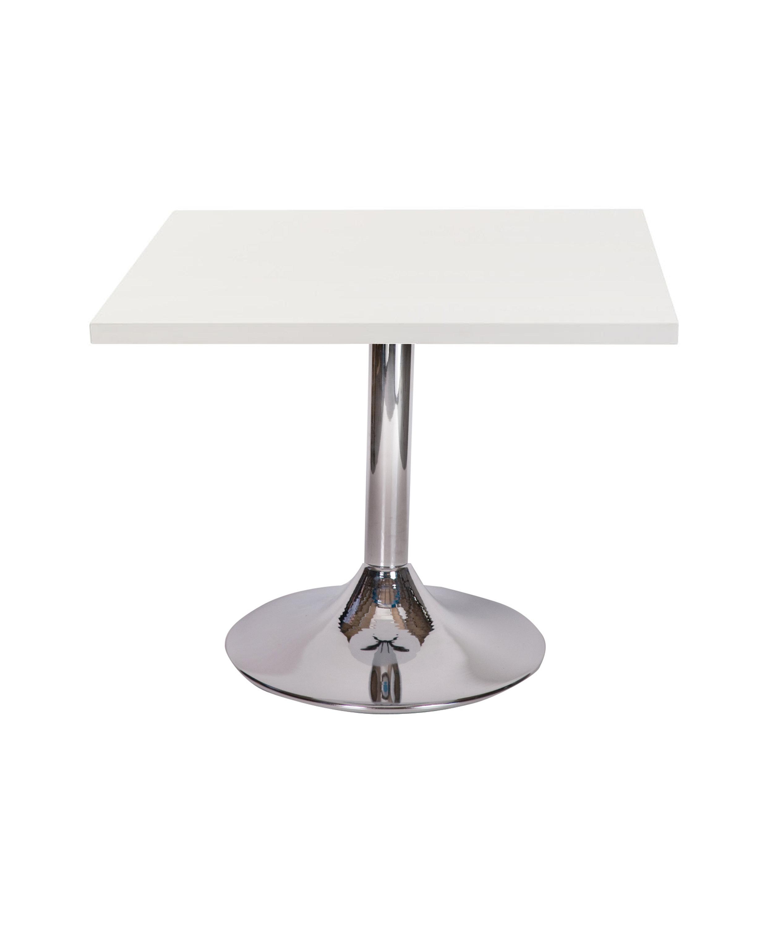 Ramiro chrome trumpet dining base with Square White top.jpg