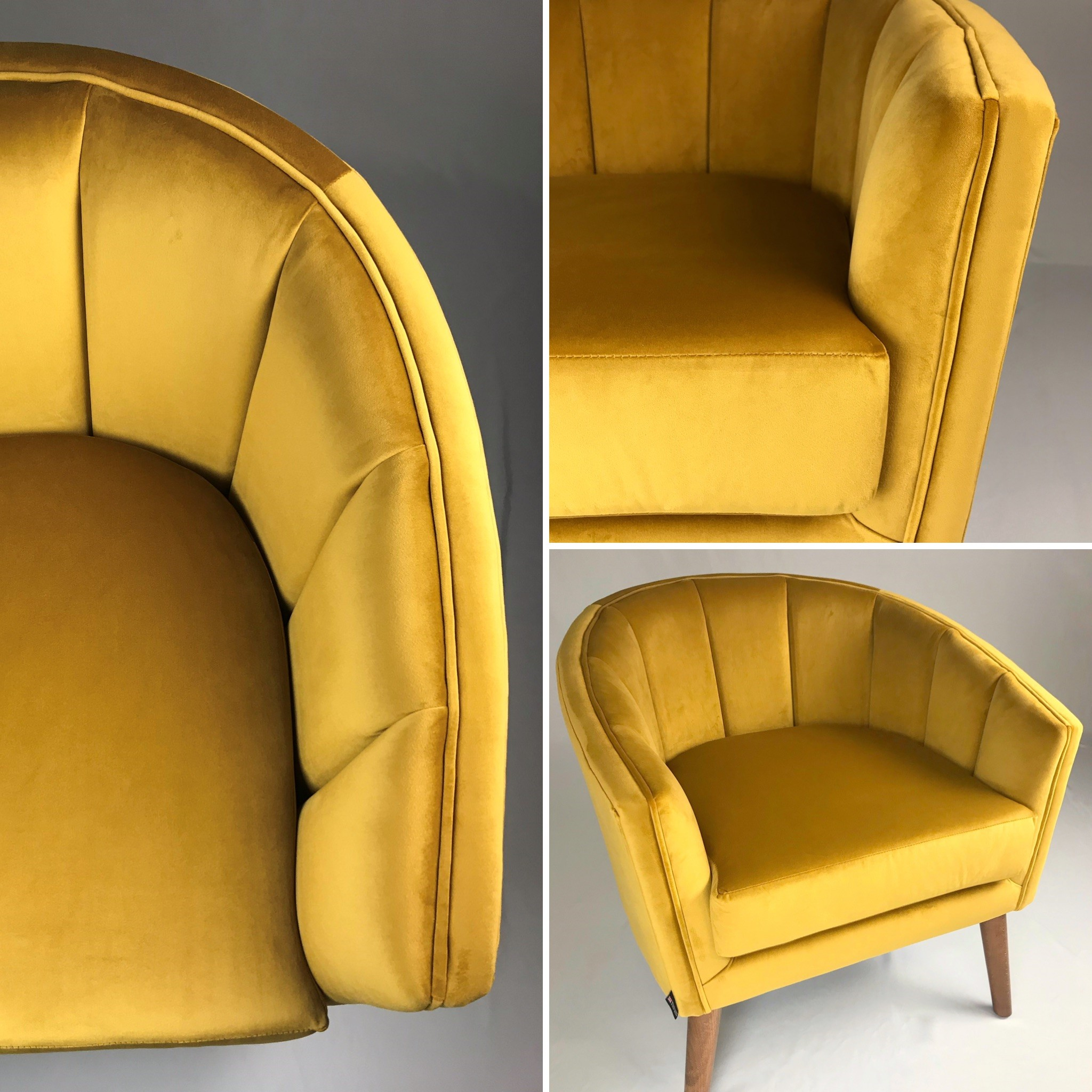 Deep mustard velvet extenuates the fluted details in this bespoke tub chair.  Developed and manufactured in-house at HF.