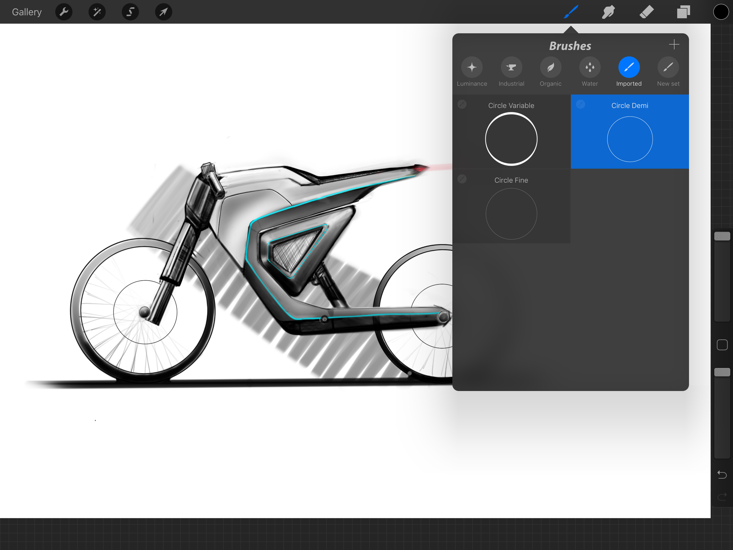 Procreate offers a wide array of tools, but the lack of guides is a major drawback, and imported brushes is the workaround