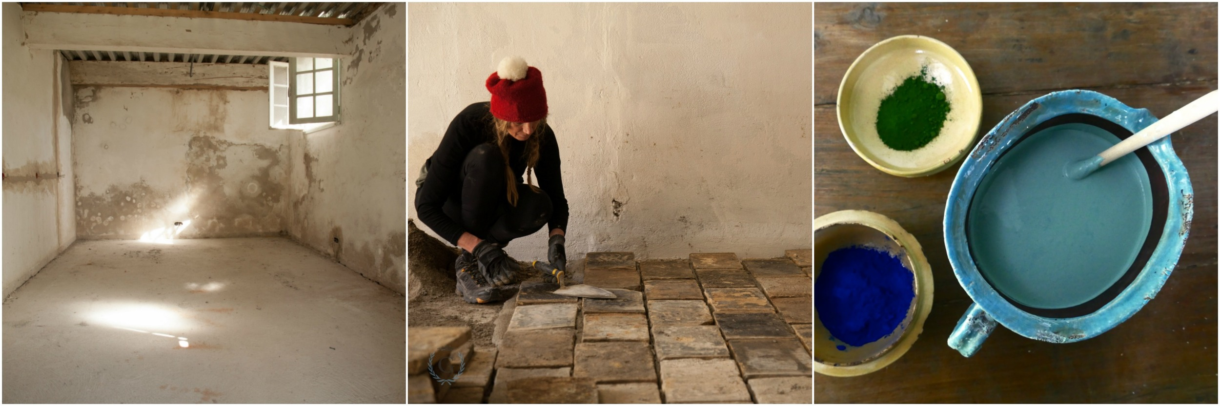 Château laundry. Re-laying terracotta tiles and mixing original paint colour.