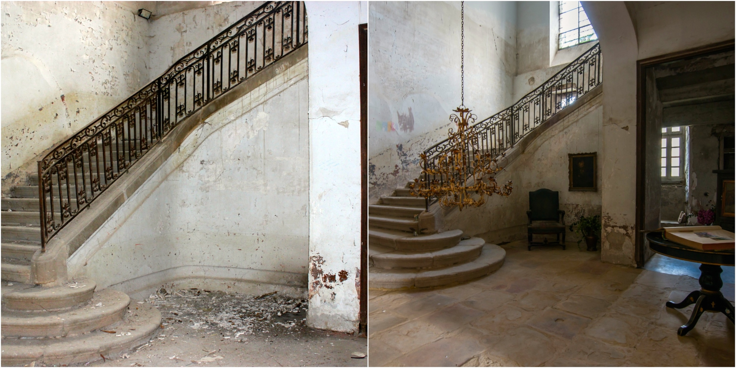 The vestibule before and after