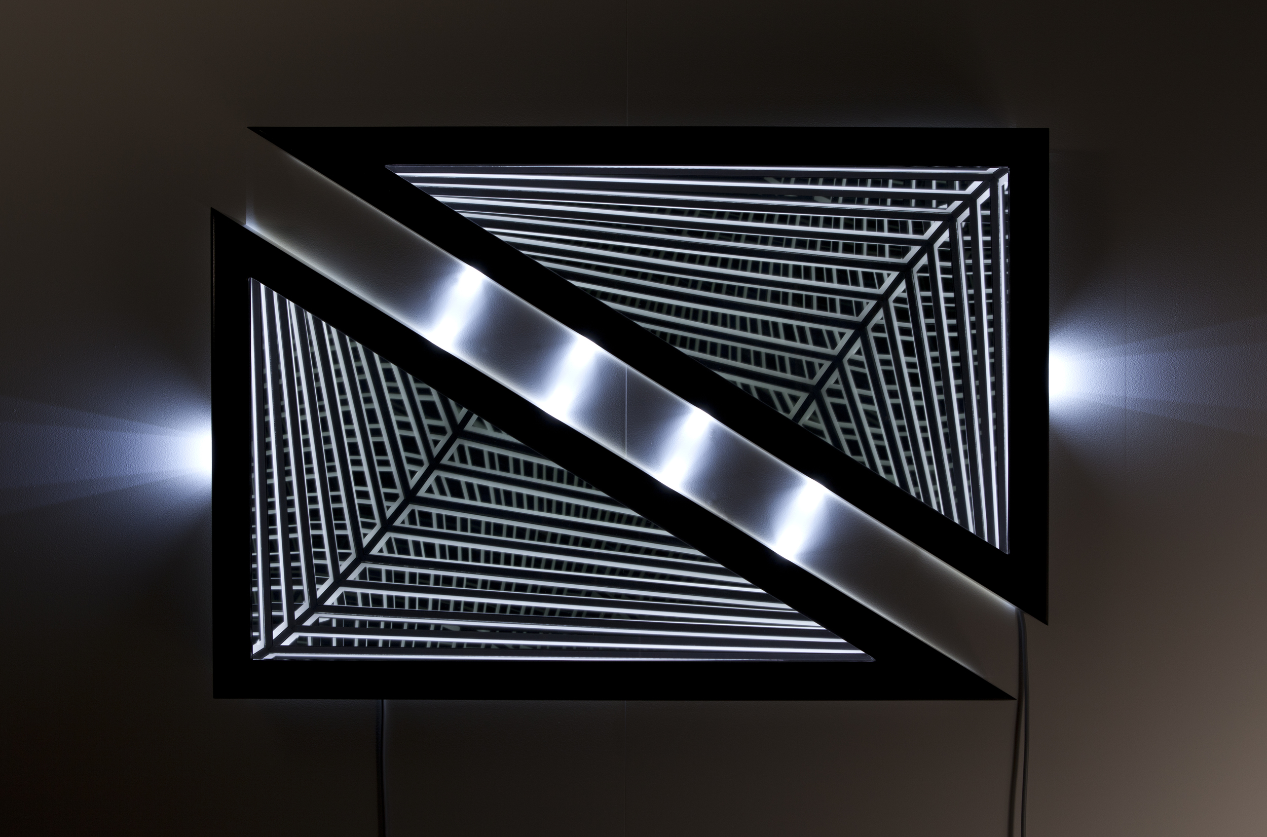 Resist , wood, reflective glass, mirror, MDF and LED lights, 81.5 x 119 x 13cm. Photo: Pippy Mount.