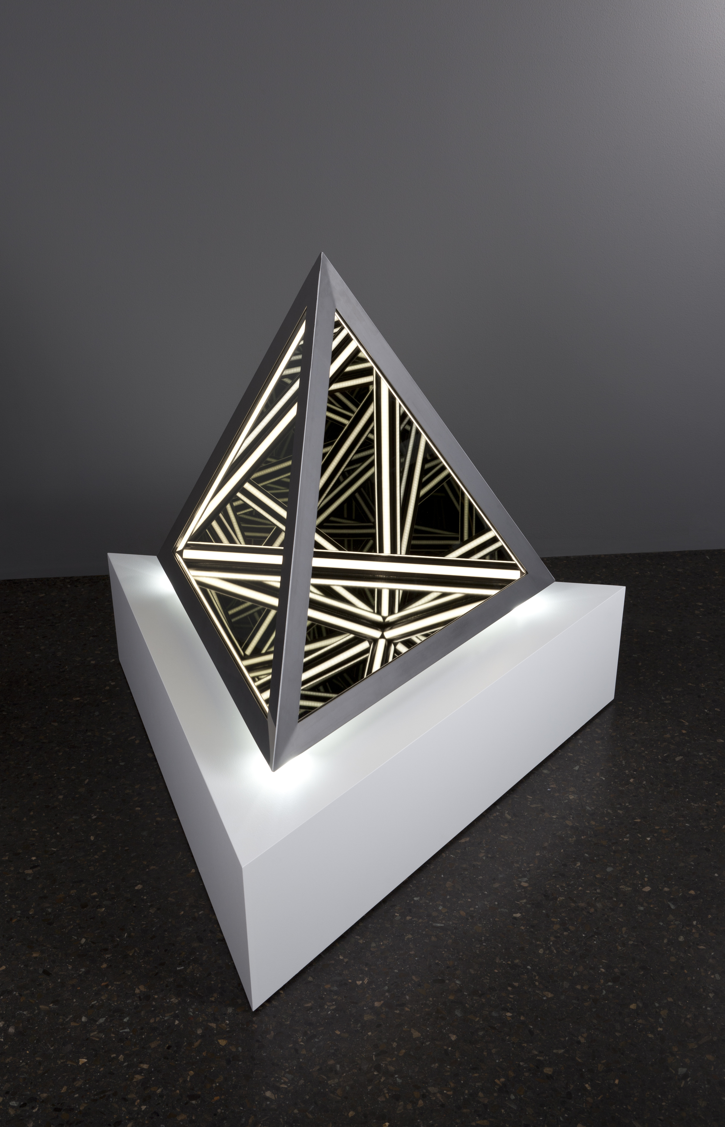 Blank , wood, reflective glass, mirror, stainless steel, MDF and LED lights,91 x 102 x 89cm (including plinth). Photo: Pippy Mount.