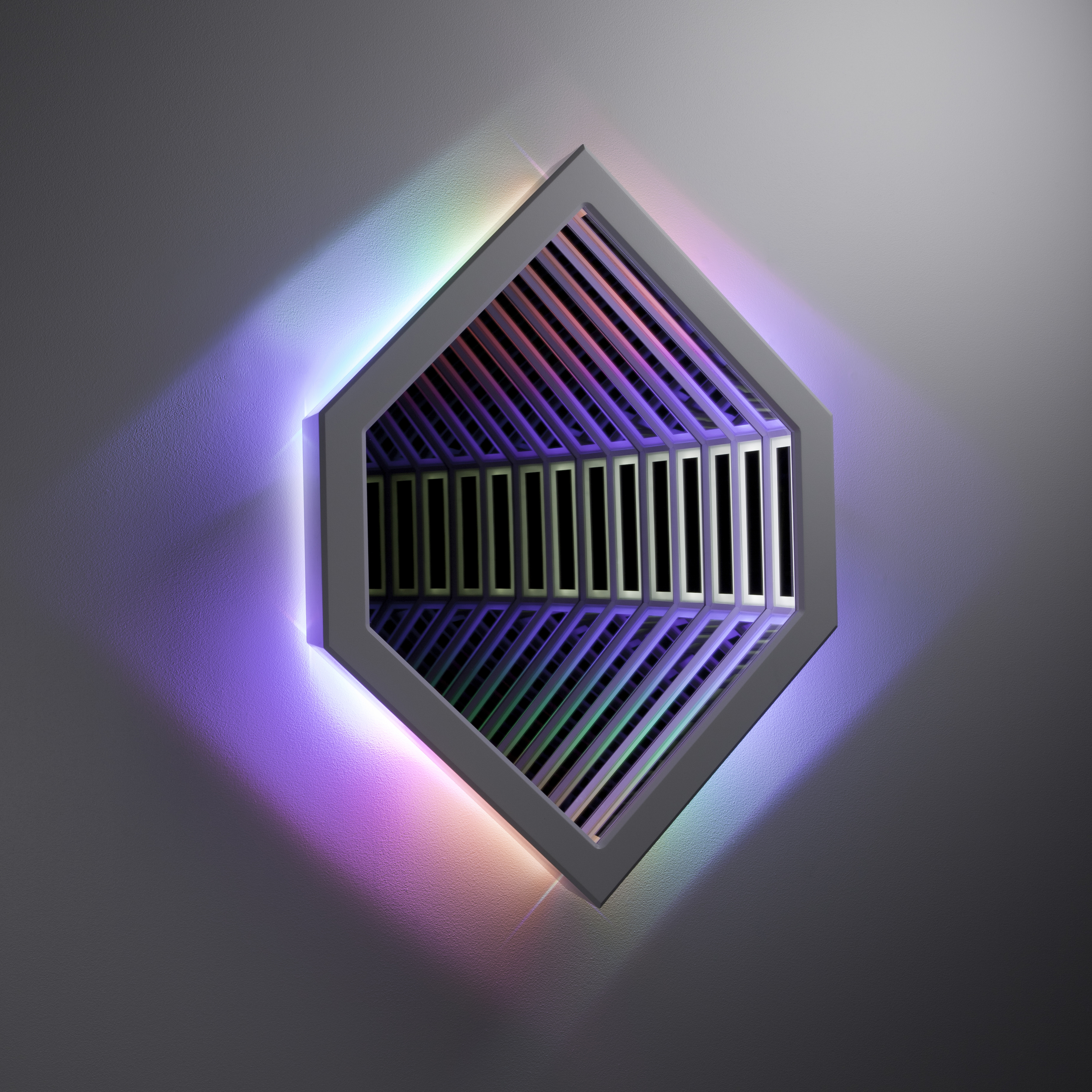 Spectrum II , wood, mirror, reflective glass, MDF and LED lights, 92x 65x 14cm. Photo: Pippy Mount.