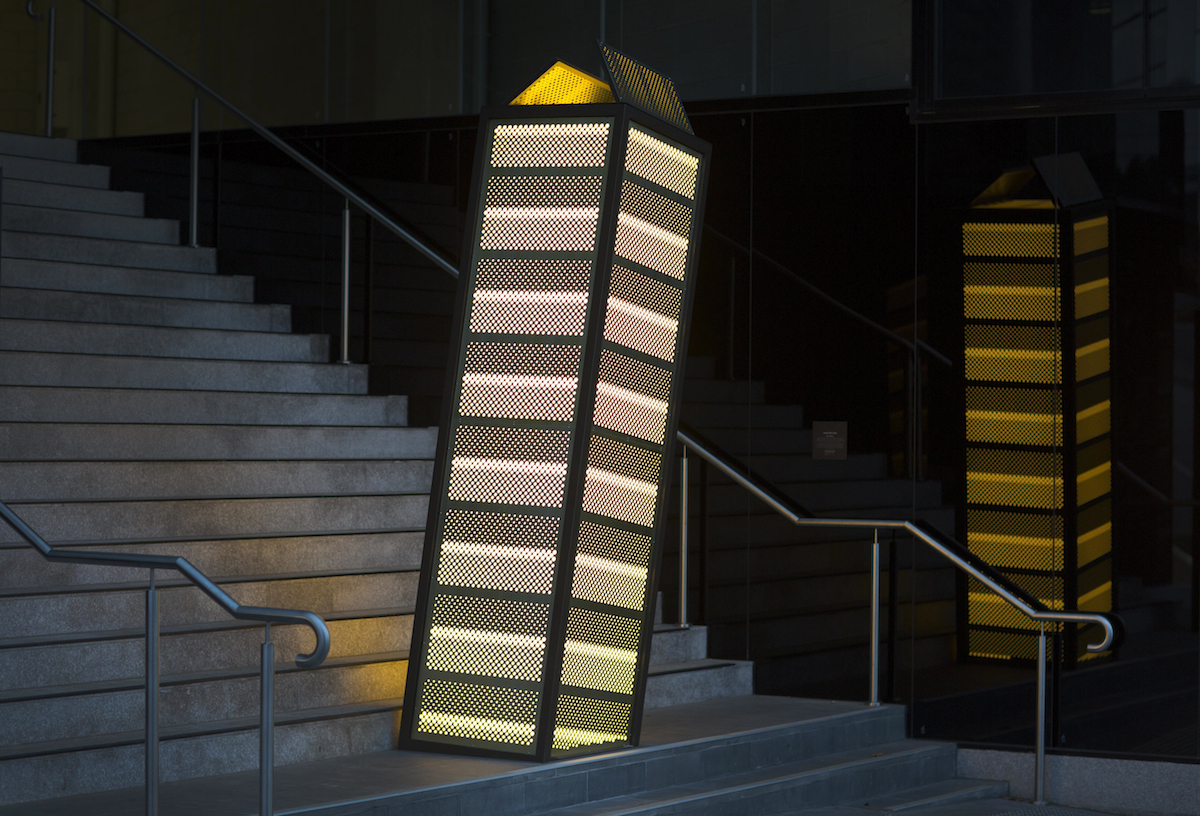 MDLU 792015 4 , 2016, powder-coated and electroplated aluminum, acrylic and LED lighting, 330 x 105 x 95 cm. Commissioned by Capital Alliance Docklands Pty Ltd for M Docklands, Melbourne. Photo: Fiona Hamilton.