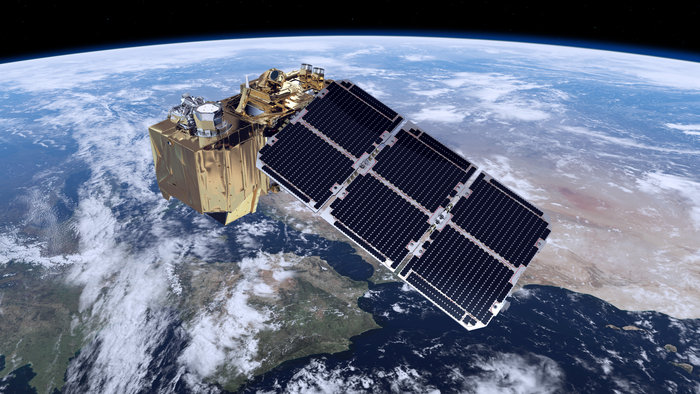 Artistic depiction of a Sentinel-2 satellite in orbit. The Multi-Spectral Instrument (MSI) on-board Sentinel-2s falls into line with Landsat and SPOT instruments, but provides a significantly higher temporal resolution as required for freshwater monitoring (image by ESA/ATG medialab).