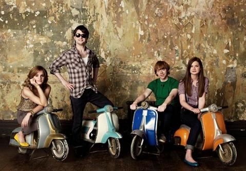 The Harry Potter Cast on Tiny Vespas