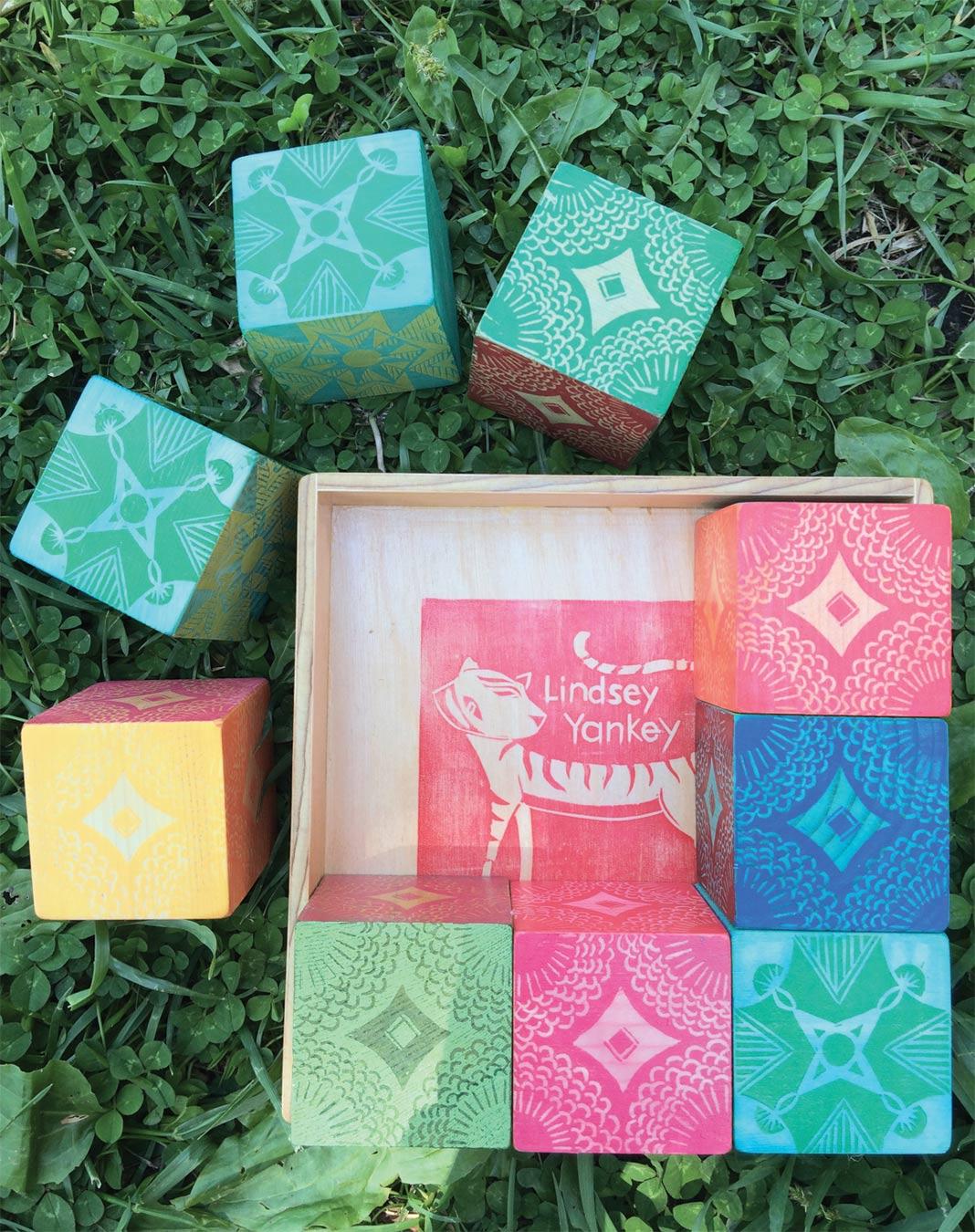Puzzle Blocks, wood, stain, linoleum cut