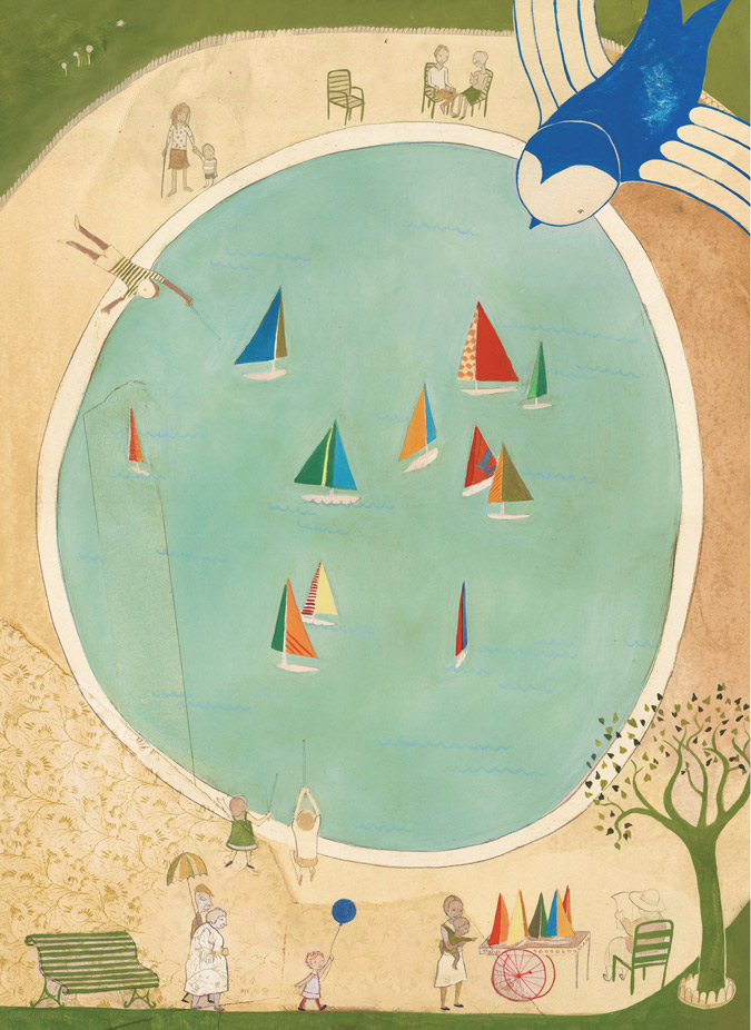 Boat Pond, oil paint, collage, pencil,  Bluebird, Simply Read Books & Donzelli Editore