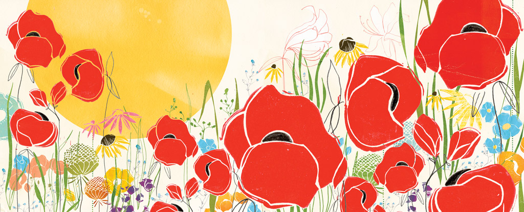 Eos Flowers, linoleum cut, collage, digital,  Sun and Moon , Simply Read Books