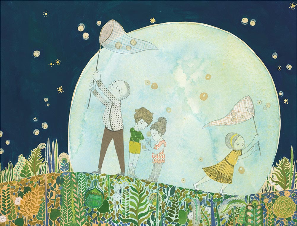Fireflies, oil paint, collage, watercolor, pencil,  Sun and Moon , Simply Read Books