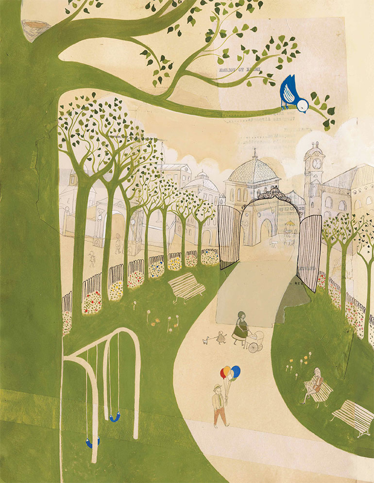 Park, oil paint, pencil, collage,  Bluebird , Simply Read Books &Donzelli Editore