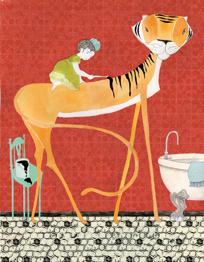 Tiger Painting, watercolor, pencil, pen,digital