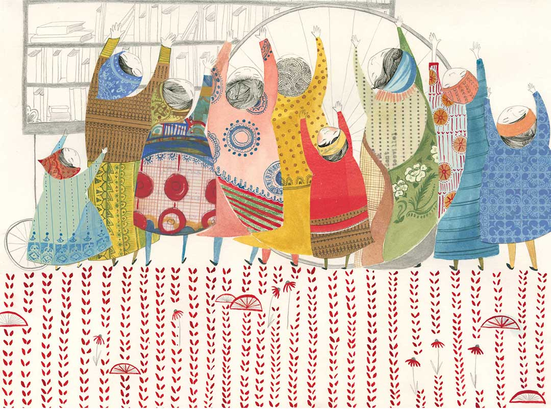 Vagabond Library, collage, watercolor, pen, pencil