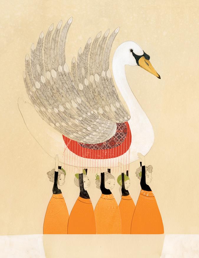 Swan Girls, gouache, pencil, cut paper, digital