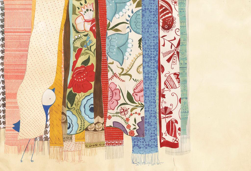 Scarves, oil paint, pencil, digital,  Bluebird , Simply Read Books &Donzelli Editore