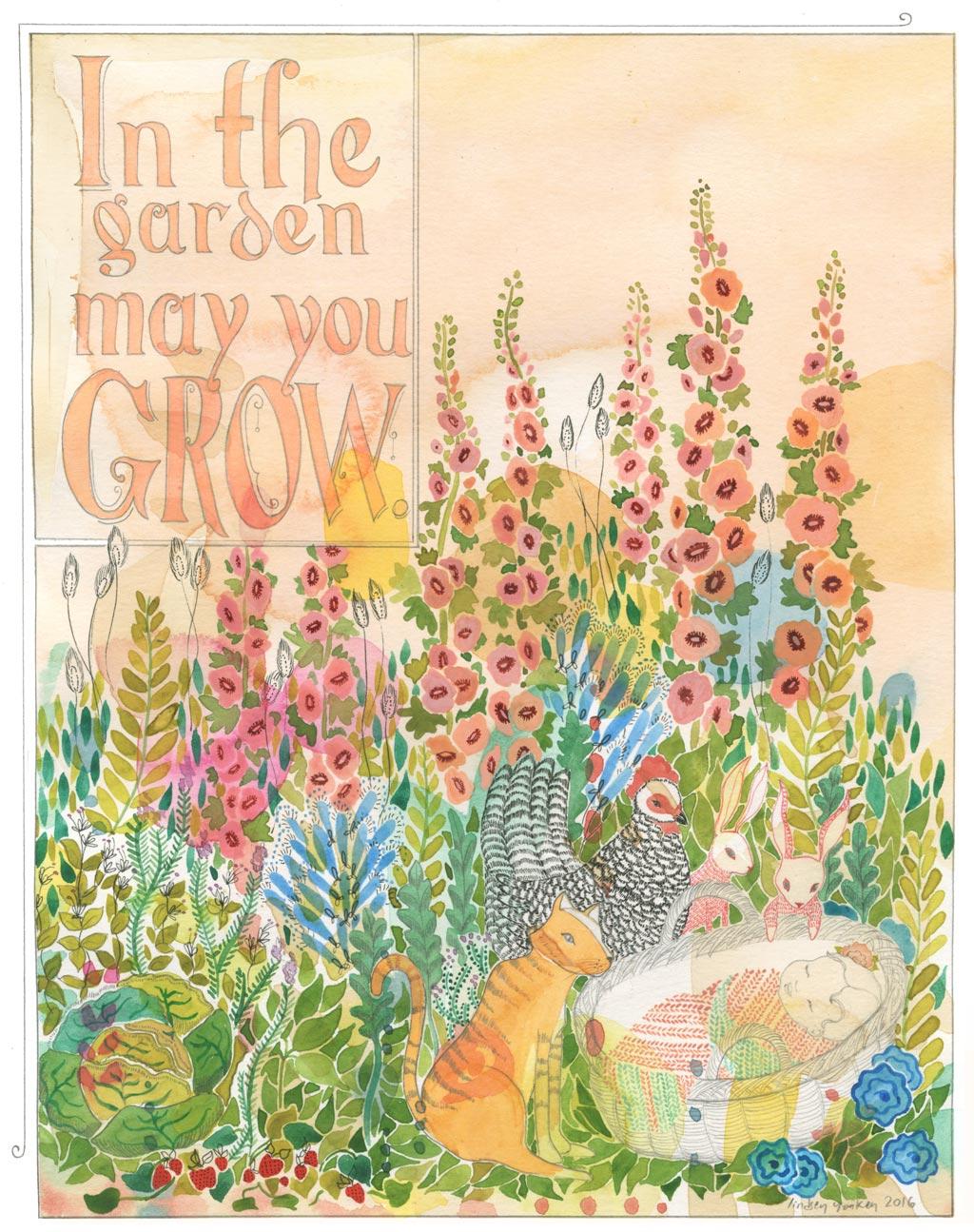 Garden, watercolor, pen, pencil