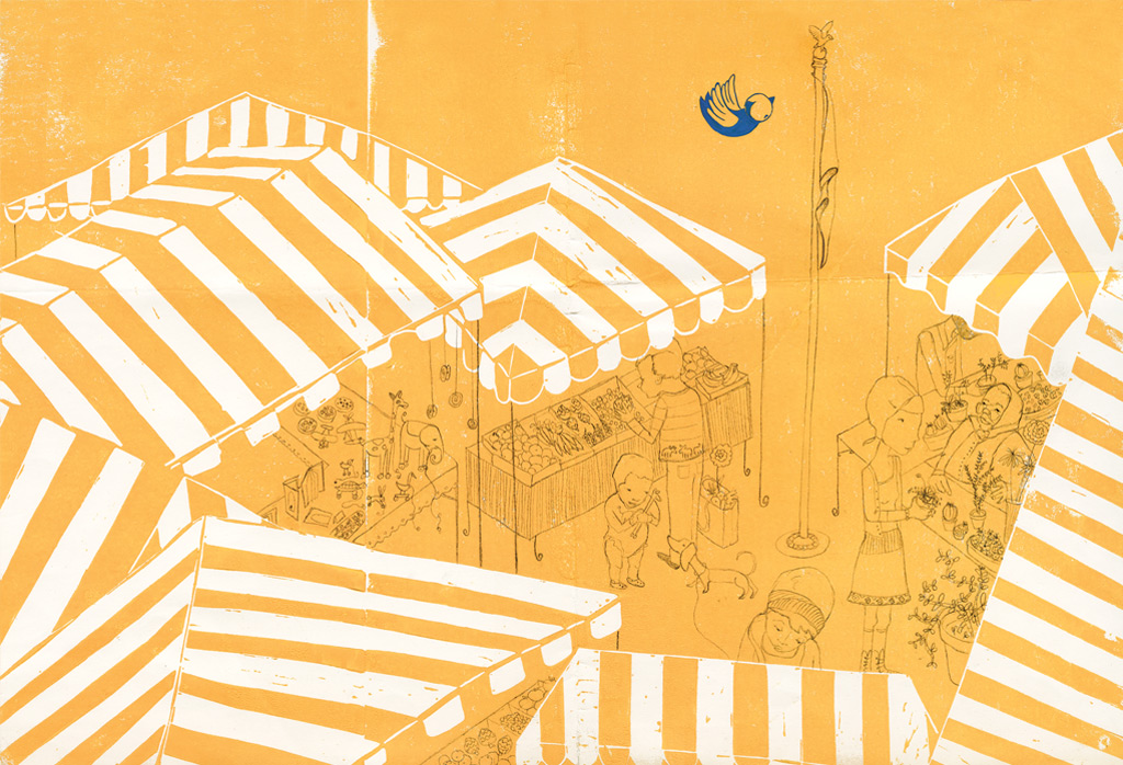 Market, linoleum cut, pencil, oil paint, Bluebird, Simply Read Books & Donzelli Editore
