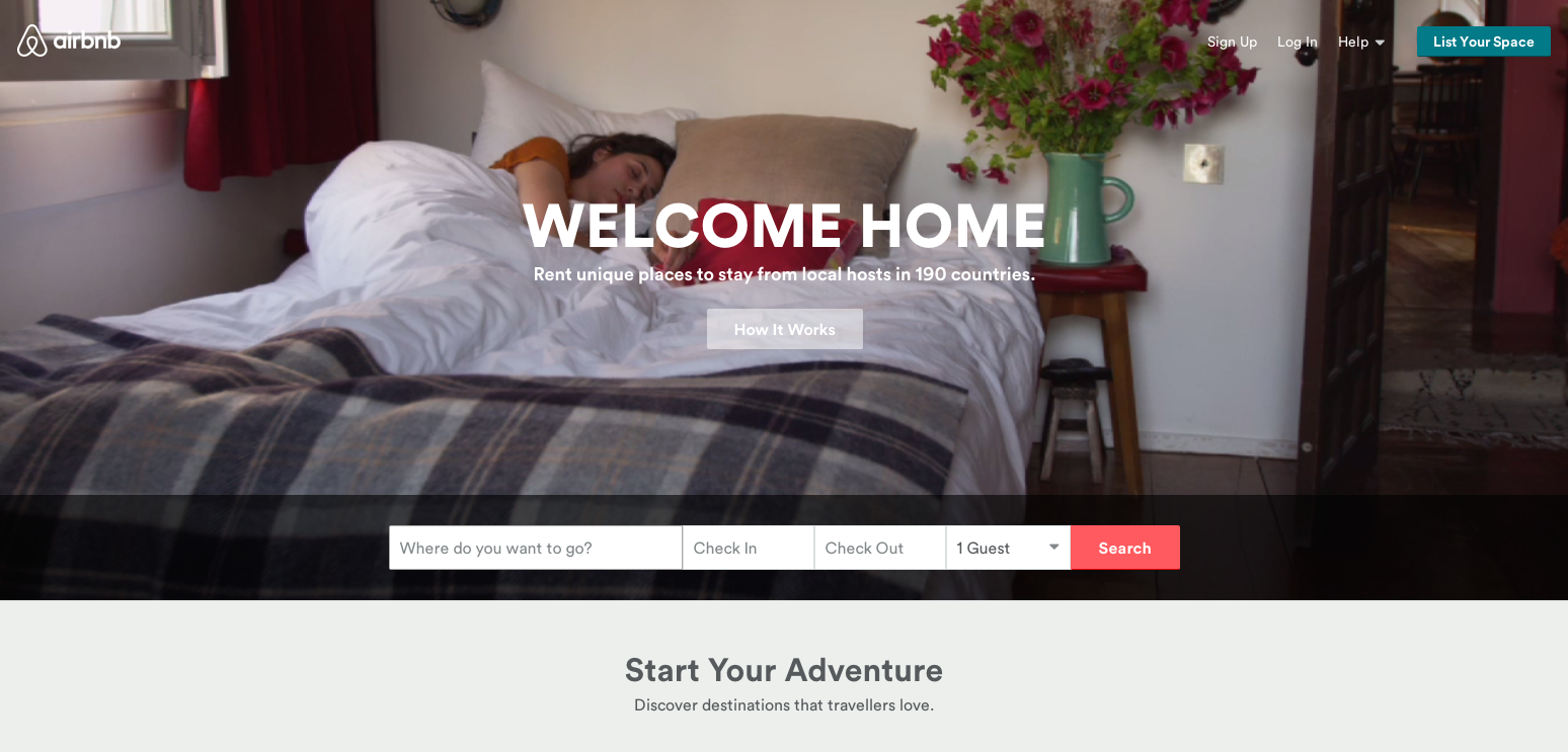 Airbnb homepage screenshot