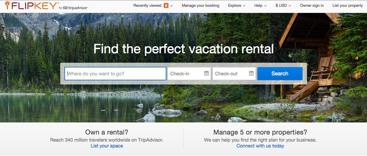 FlipKey.com homepage screenshot