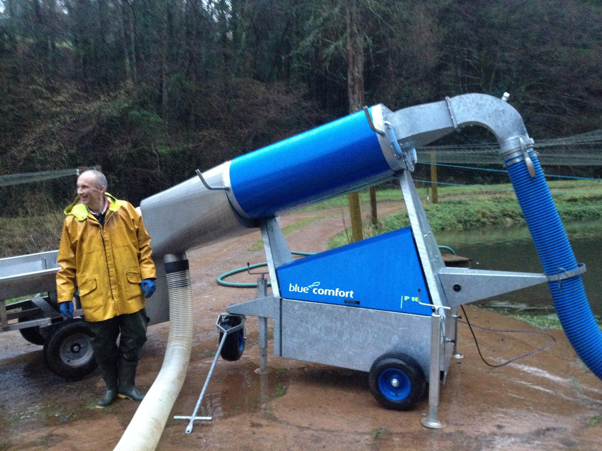 Owen modelling our fish pump!
