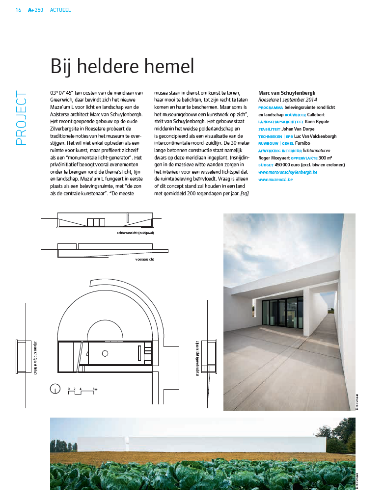 verscheen in    A+250,     p. 16    architectuur in België     oktober-november 2014