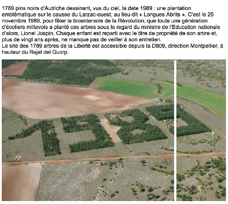 """O 3°7'45"""" / N 44°02'32"""" // MILLAU (FR): plantation vue du ciel pour le bicentenaire de 1789"""