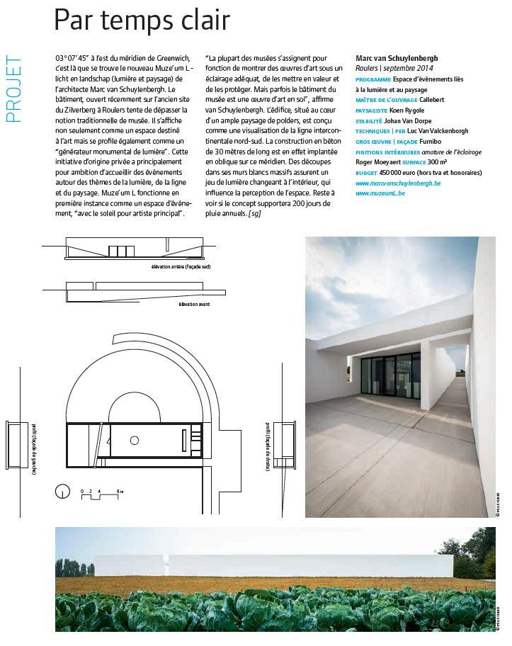 paru en A+ 250, p. 16  architecture belgique  octobre-novembre 2014