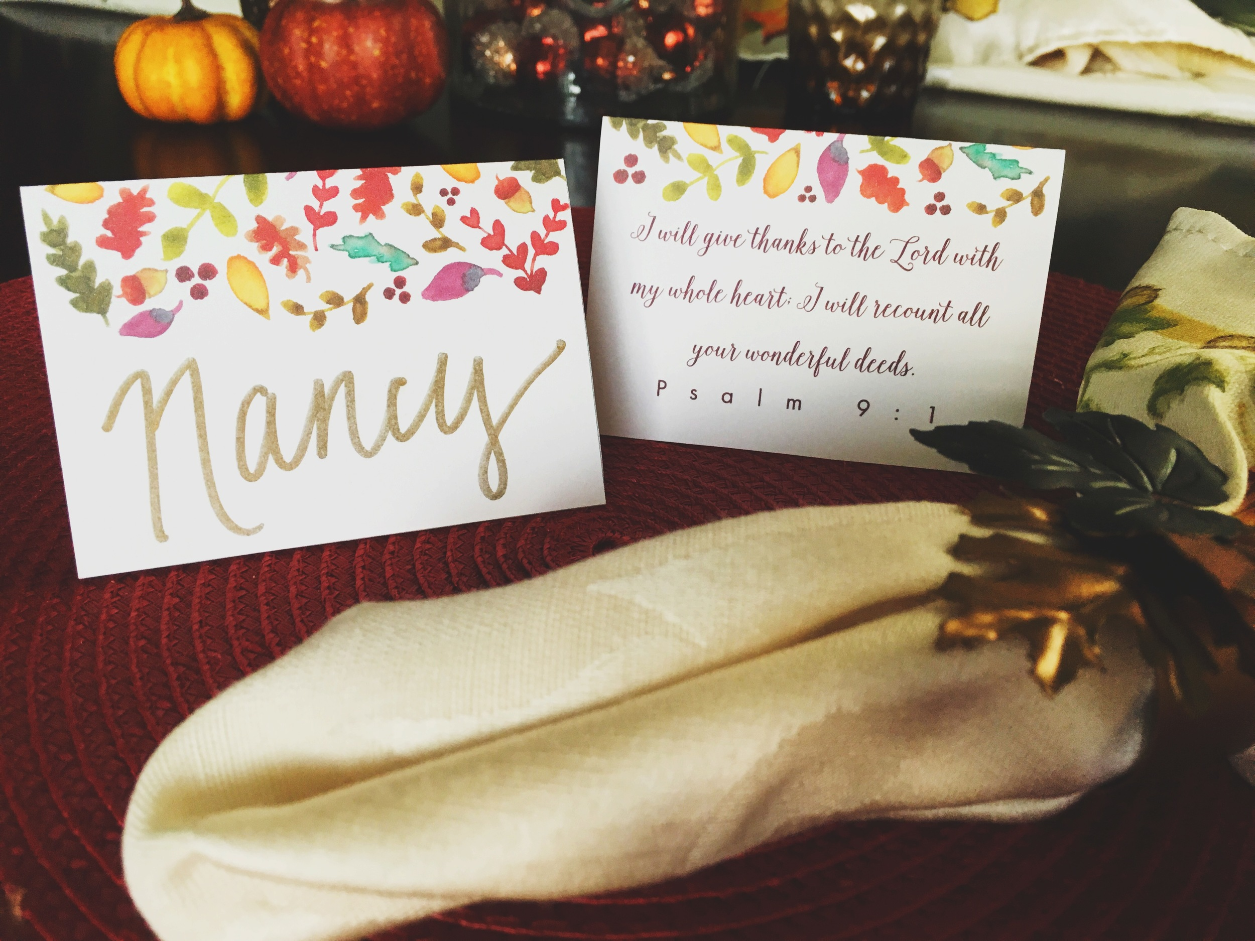 Thanksgiving Printable Place Card with Bible Verse