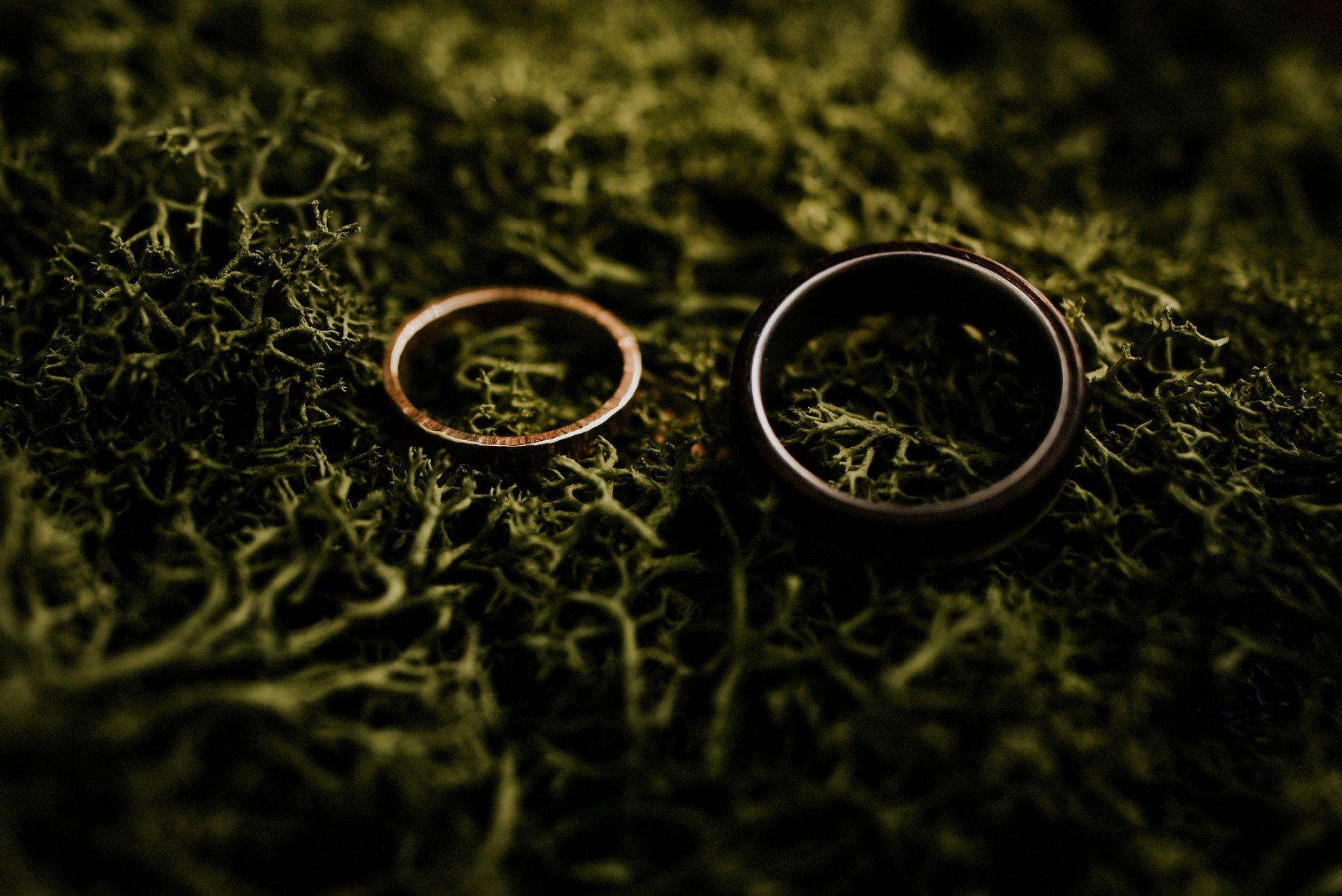 Gold Wedding Ring by  Midnight Alchemy Design , Ebony, Brass and Titanium Ring by  RingsDepot