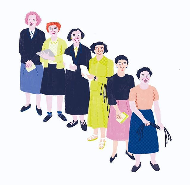 Kay McNulty, Jean Jennings Bartik, Betty Snyder, Marlyn Meltzer, Fran Bilas, Ruth Lichterman were the first programmers of ENIAC (Electronic Numerical Integrator and Computer) • • Find more women in Cracking the Code: Women Who Have Changed the Way We Look at Computers, written by Alisha Sadikot, illustrated by me for @pratham.books . English + Translations available in Tamil, Kannada, Marathi, Gujarati, Hindi at @pbstoryweaver • AD Aditi Dilip  #prathambooks #storyweaver #womenwhocode #womenwhodraw #portraits #womenwithpencils #shreymade  @women_ofhistory #ENIAC #kaymcnulty #jeanjenningsbartik #bettysnyder #marlynmeltzer #franbilas #ruthlichterman
