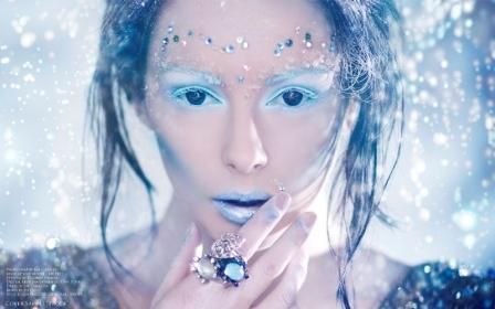 Snow queen make up and hair for FaceOn Magazine Issue 5 Winter edition. Photography by Dave Piper, Styling by Krishan Parmer, Make up and hair by me, Liv Free Make Up and Hair Artist.