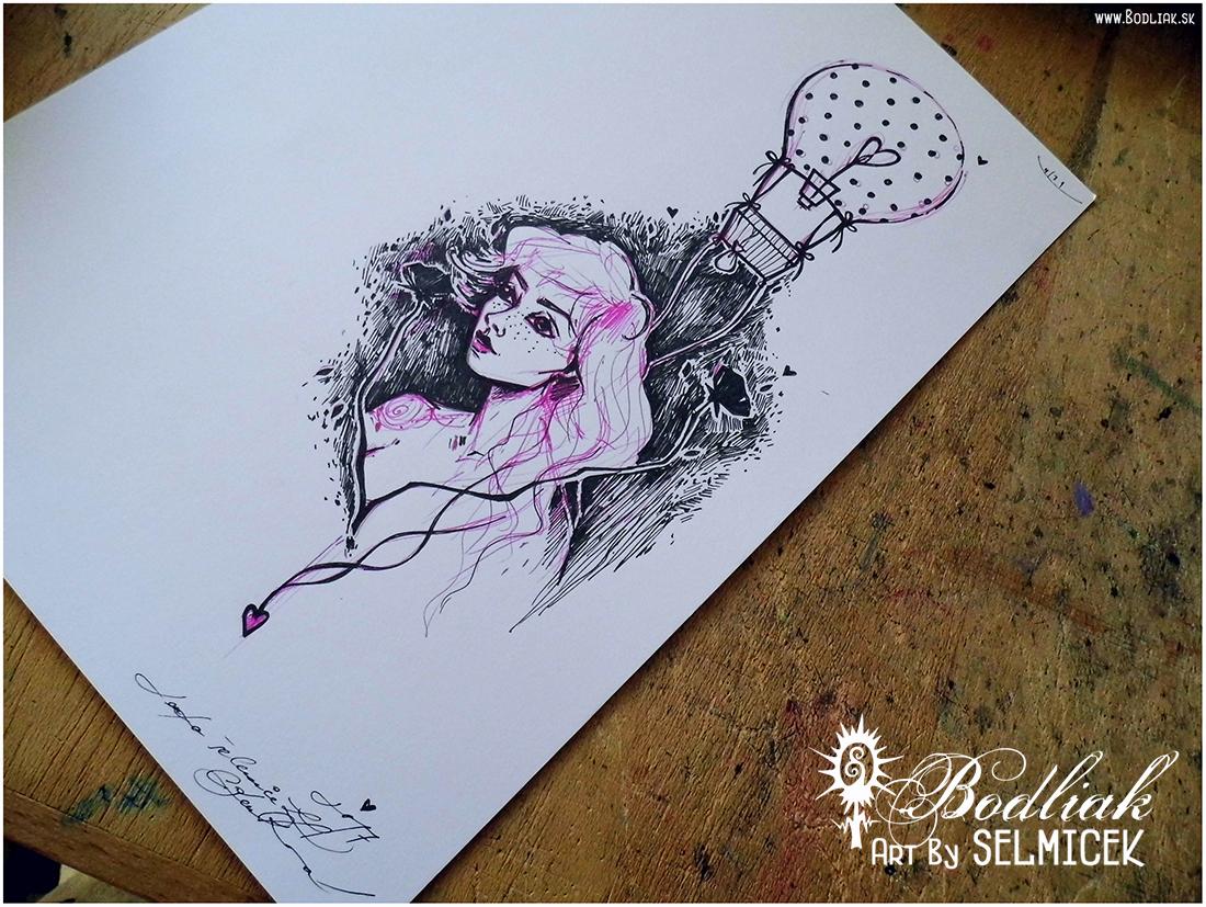 Dievča s balónom nad sebou   autor: Selmicek  25,5cm x 11cm